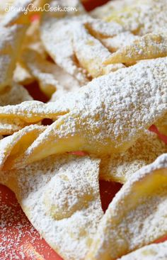 Polish Chrusciki recipe from Jenny Jones (Jenny Can Cook) - Also called Angel Wings, light as air and easy to make.
