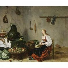 Sybrand Van Beest - A Kitchen Interior With A Maid Cleaning Turnips