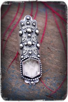 Up From the Ices- A Sterling Silver and Quartz Crystal Filigree Saddle Ring by Rosy Revolver