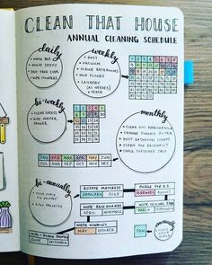 bullet journal idea | Cleaning Schedule I've been a cleaning like a crazy person, and it sure shows on my Cleaning Schedule. I love this thing. I would clean anyway, but this let's me know it's getting done! And I get to pat myself on the back.