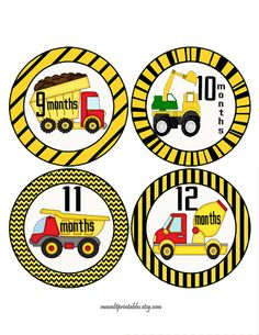 Construction Monthly Baby Stickers Truck by MoonLitPrintables