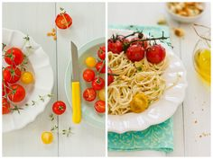 Spaghetti tossed in olive oil with herbs, roasted tomatoes and garlic croutons.  Yum!