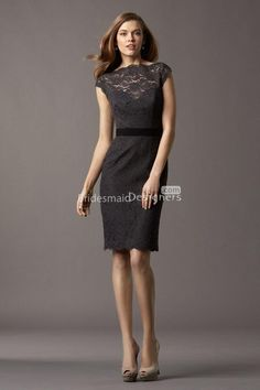 Different website for same dress. Cap sleeve boat neck sheath short knee length black lace bridesmaid dress