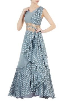 Shop Shruti Ranka - Blue waterfall drape anarkali Latest Collection Available at Aza Fashions