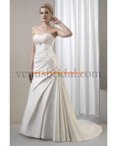 2013 Romantische Brautkleider günstig aus Satin mit Schleppe Perlen verziert sexy Korsage