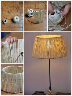 ▷ 1001 + Ideas and instructions on how to make lamps yourself- ▷ 1001 + Ideen und Anleitungen, wie Sie Lampen selber machen lamp self build material, floor lamp with lampshade of linen cord, diy project - Home Crafts, Diy Home Decor, Room Decor, Rustic Lamp Shades, Make A Lamp, Diy Pendant Light, Diy Casa, Handmade Lamps, Diy Décoration