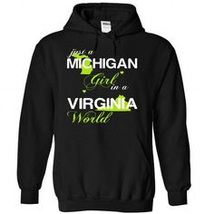 (MIJustXanhChuoi001) Just A Michigan Girl In A Virginia - #housewarming gift #coworker gift. LIMITED TIME => https://www.sunfrog.com/Valentines/-28MIJustXanhChuoi001-29-Just-A-Michigan-Girl-In-A-Virginia-World-Black-Hoodie.html?68278
