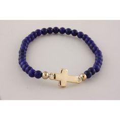 Religous & Inspirational,Designer Inspired Blue Beaded Dainty Gold Cross Sideways Side Cross Stretch Bracelet: Jewelry: Amazon.com
