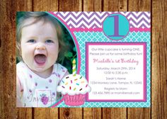 Girl Cupcake Birthday Photo Invitation- Digital File- DIY Printable- ANY AGE! 1st, 2nd, 3rd, 4th, 5th, 6th, 7th on Etsy, $14.00