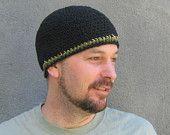 simple crocheted black cotton and hemp beanie