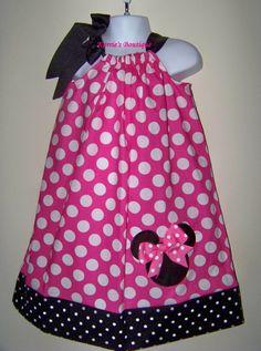 Vestido de Minnie Mouse funda de almohada o rosa lunares /