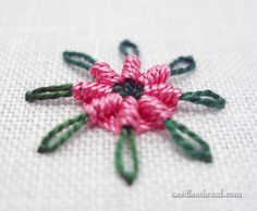 "Chain Stitch Spider Daisy - says ""it's quite simple"" - posted Feb 29 2012, by needlenthread.com"