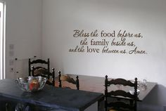 LARGE Bless the food before us, family beside us and love between us Vinyl Wall Art Decal Vinyl Wall Quotes, Vinyl Wall Decals, Mailbox Decals, Bless The Food, Before Us, Wall Hanger, Wall Art Designs, Home Furnishings, Blessed