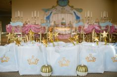 Create a dream come true celebration with a Cinderella birthday party full of royal décor, treats & activities. Cinderella Birthday, Princess Birthday, Princess Party, Disney Princess, Dessert Table Backdrop, Table Decorations, Square Cupcakes, Pumpkin Uses, Birthday Party Themes