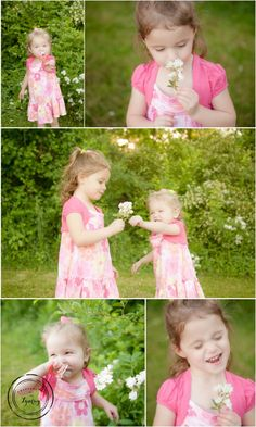 Little girls and wildflowers