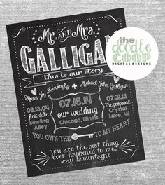 Personalized The Story of Us Chalkboard Digital File- Mr. and Mrs. Printable