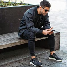 monochrome // sneakers, joggers, bomber jacket, menswear, mens fashion, mens style