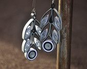 Mod Silver black, white pearl feather geometric Dangle Large Quilled Quilling Paper Earrings Modern 022