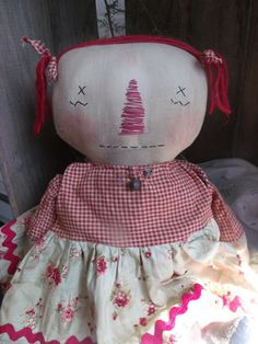 Primitive Raggedy Annie Doll by SnugglebugBlessings on Etsy, $26.00