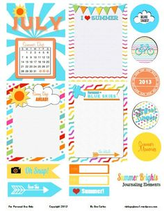 Free Summer Brights Journal Cards and Labels for Project Life from Vintage Glam Studio