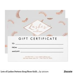 lash extensions salon grayrose gold customizable gift certificate cards - Lash Extension Business Cards