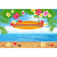 Hawaiian Style Background For Photo Seaside Scenery Tropical Flowers And Leaves . Hawaiian Style B Beach Backdrop, Balloon Backdrop, Flower Backdrop, Prom Backdrops, Muslin Backdrops, Custom Backdrops, Happy Birthday Banners, Baby Birthday, Theme Background