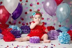 Caralee Case Photography ~ Idaho Falls, ID Baby Child Birthday Photographer.  Cake Smash. Red. Purple. Blue. Birthday Pictures.  #cakesmash