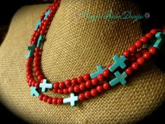 Multi-Strand Red and Turquoise Cross Western Cowgirl Necklace