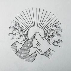 Image result for black and white sunset tattoo