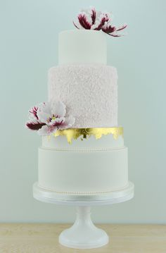 White and Burgundy Parrot Tulips wedding cake by Blossom Tree Cake Company, Harrogate, North Yorkshire