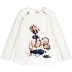 Mayoral - Girls Ivory Cotton Makeup Sweater | Childrensalon