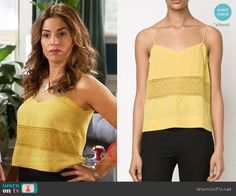 Marisol's yellow embroidered camisole top on Devious Maids Ana Ortiz, Devious Maids, Hey Girl, Fashion Forward, Camisole Top, Street Style, Fashion Outfits, Tank Tops, Yellow