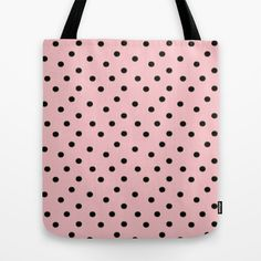Baby Pink with Black Dots Tote Bag by Bohemian Bear by Kristi Duggins - $22.00