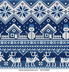 Christmas Seamless pattern with ornaments of a Jacquard knitting. Image of a hou… Christmas Seamless pattern with ornaments of a Jacquard knitting. Image of a house, snowman, moose, star, snowflake on a blue background. Primitive Christmas, Christmas Knitting, Christmas Sweaters, Knitting Charts, Knitting Patterns, Crochet Patterns, Fair Isle Knitting, Crochet Slippers, Blue Backgrounds