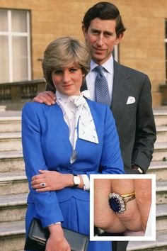 Princess Diana The Jewel: A oval blue Ceylon sapphire surrounded by 14 solitaire diamonds set in white gold. Princess Diana Engagement Ring, Princess Diana Ring, Royal Engagement Rings, Princess Diana Wedding, Celebrity Engagement Rings, Halo Engagement, Diana Fashion, Royal Fashion, Charles And Diana