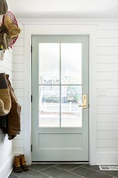 Front door ideas and design to add curb appeal for new house, renovation, new build, or remodel: Benjamin Moore Gray Owl door with brass door entry set Style At Home, Home Interior, Interior Design, Interior Door Colors, Painted Interior Doors, Interior Door With Window, Painted Doors, Wooden Doors, Interior Glass Doors