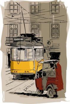 old tramway illustration, Lisbon Stock Vector