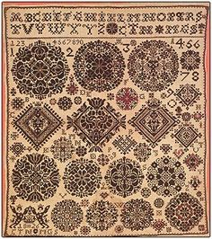 Permin Museum Celle Sampler 1826 - Cross Stitch Pattern. Model stitched on 32 count Nature or Antique Blue Linen with DMC floss of your choice. The stitch count