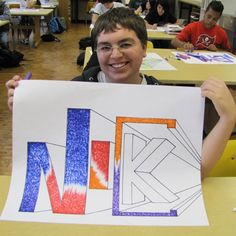 Project-Based Learning as a Context for Arts Integration While valuable as a stand-alone discipline, Name Art Projects, School Art Projects, High School Art, Middle School Art, Drawing Lessons, Art Lessons, 8th Grade Art, Sixth Grade, Third Grade
