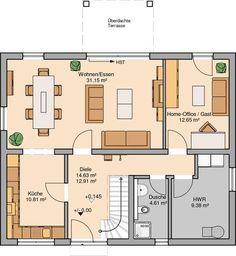 Kern-Haus family house Signum Plus floor plan ground floor - Home & DIY Minimalist House Design, Minimalist Home, Living Haus, House Plans 3 Bedroom, Tuscan Design, Ground Floor Plan, Space Architecture, Small House Plans, Bungalow