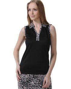 bb9bc6c87aa98 Monterey Club Animal Print Polo Dry swing contrast animal print pique  sleeveless polo. Accented collar · Pique ShirtPolo ShirtWomens ...