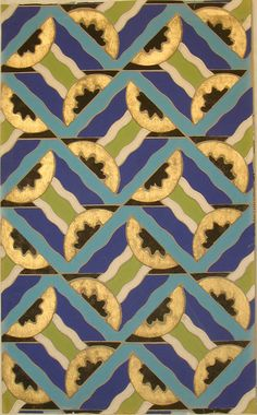 Sidewall sample | France, circa 1930 | Machine-printed paper | Repeating motif of pairs of triangles placed together forming rectangular shapes. Each triangle contains a half-circle. Band of three wavy lines links the two triangles. Printed in bright blue, dark blue, gold, black, pale grey and olive green on a grey ground | Cooper-Hewitt