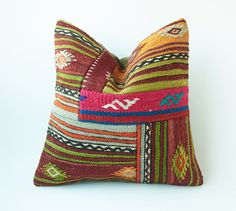 Vintage Decorative Kilim Throw Pillow 16'' x by TurkishCraftsArts, $63.00