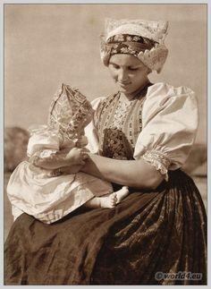 Young woman with child from Vyšný Sliač, Slovakia.