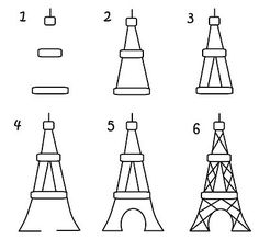 How to draw Eiffel Tower for Paris cupcakes by G-ma Jo's