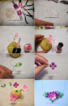 DIY Bijoux  Spring wire necklace with nail polish by seehowwemakeit.bl & semeistvoadams.b