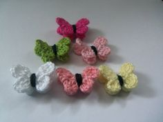 Mini Crochet Butterflies set of 6. by Roxana010 on Etsy, $3.00
