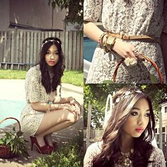 Bcbg Lace Romper, Steve Madden Rasberry Pumps, H Daisy Headband, Forever 21 Floral Necklace, Forever 21 Gold Jewelery
