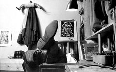 James Dean into his studio apt. whose was tenant on fifth-floor walk-up at 19 West 68th Street, NYC.