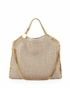 L0AU0 Stella McCartney Falabella Fold-Over Shoulder Bag, Sand